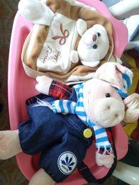 Плюшевые рюкзаки Хрюша, дед мороз-санта, собачка, мышка