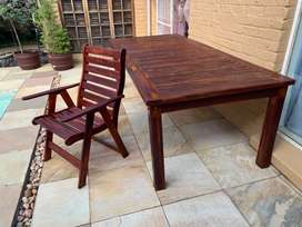 Outdoor Hardwood table and chairs