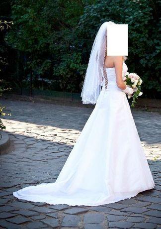 Suknia ślubna biała 36/38 +welon+buty+kamizelka+krawat Kraków - image 1