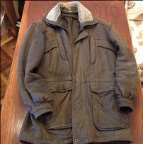 Мужская кожаная (набуковая) утепленная куртка с меховым воротником