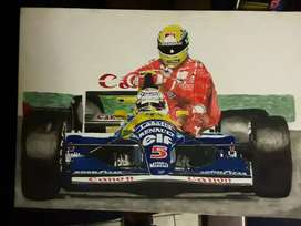 Waterpaint F1 painting. Senna and Mansell