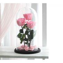 Три розы в колбе. Розовый кварц .Доставка по Украине 1-2 дня