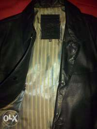 Image of Smart Males Black Genuine Leather Jacket Forsale