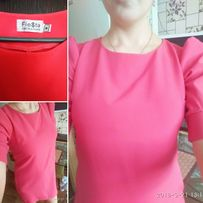Платье алого цвета (розовое) 44 р-р , свободного силуэта