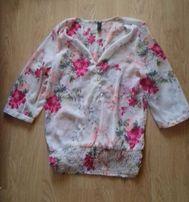 Zwiewna różowa bluzka w kwiatki r.S/M Vero Moda