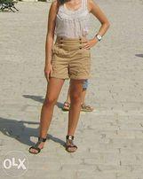 Spodenki szorty Zara xs s 32 34 z wysokim stanem beżowe bawełna