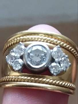 18k gold 7 stone diamond domed cut-out ring with cables (handmade) 1.3