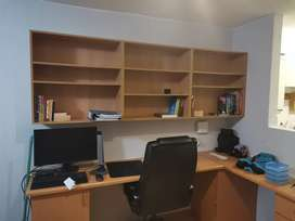 Book shelve and office desk / table  mounted to wall