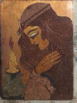 Картина панно ручной работы из медной проволоки.