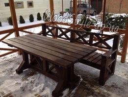 Садовая мебель. Масивный стол, лавочка