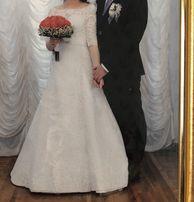 Свадебное платье гипюровое гипюр рукав ажурное белое рыбка
