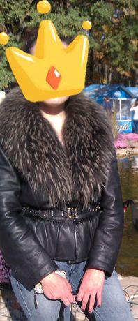 Кожа куртка с мехом