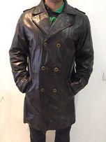 Мужской кожаный плащ, кожаное мужское пальто, плащ из кожи