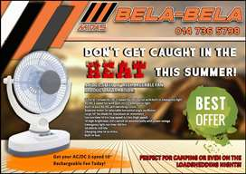 """Get your AC/DC 2-speed 10"""" rechargeable fan today at Midas Bela Bela!"""