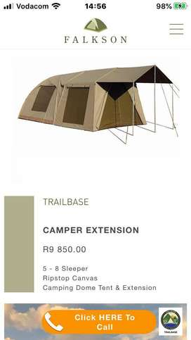 Canvas tent and extension ext. As new