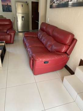 Leather reclinable couch for sale