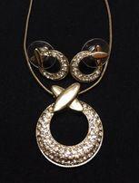 Набор украшений в золоте с камнями (цепочка с кулоном + серёжки)