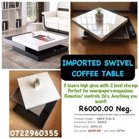 Imported square swivel coffee table