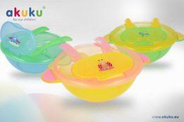 """Тарiлка-контейнер антипідслизгова з ложкою та виделкою """"АKUKU"""" А 0136"""