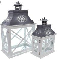DREWNO vintage ozdobny lampion komplet 2 sztuki - Latarnia Dekoracja