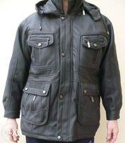 Kurtka ocieplana czarna skóra eco na około 172-180cm XL