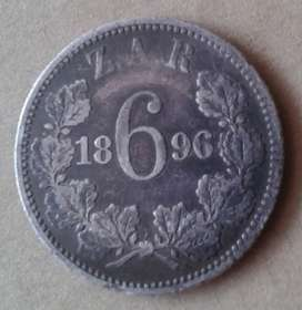 1896 Paul Kruger silver sixpence