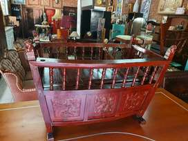 Chinese antique solid wood carved baby cot