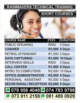 Introduction to computers,Office Administration, Cashier courses