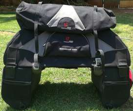 Motorcycle side bags with tent bag