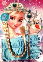 Rękawiczki, różdżka, warkocz i korona Elsy z Krainy Lodu