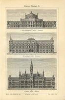 ARCHITEKTURA 3 oryginalne XIX w. grafiki do dekoracji wnętrza