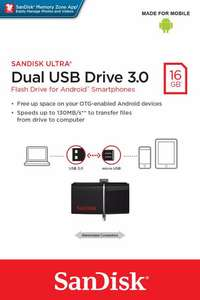 Image of SanDisk Ultra Android Dual 16GB USB Flash Drive - Black (New)