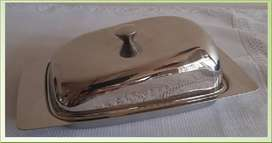 VINTAGE DURAWARE STAINLESS STEEL CHEESE DISH by DOMANI