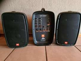 """JBL PORTABLE 6.5"""" TWO-WAY SYSTEM  incl 2  x Shure PG58 Microphones"""