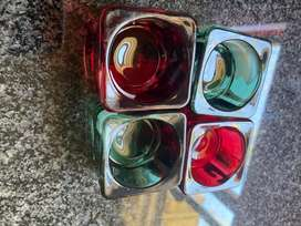 Red and green candle holders