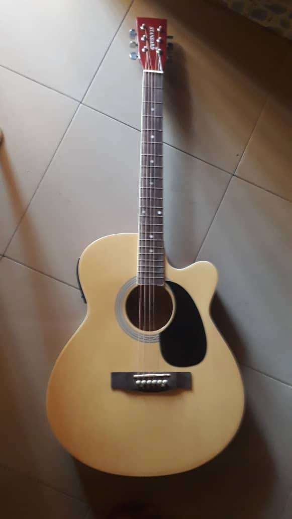 Semi acoustic guitar with plectrum, strap and bag 0