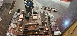 MSI motherboard with cpu and ram