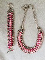 Zestaw komplet H&M kolia naszyjnik bransoletka neonowa różowa srebrna