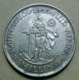 Excellent 1943 S.A silver shilling (almost uncirculated)