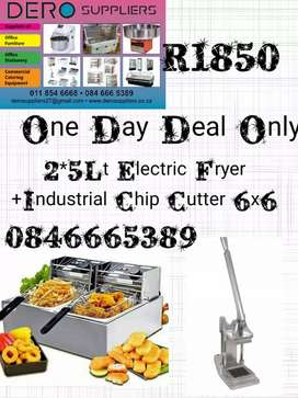 2*5Lt Eĺectric Fryer With Chip Cutter (1 Day Deal Only)