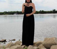 Wyprzedaż! Suknia maxi tiul koronka czarna r.xs-s