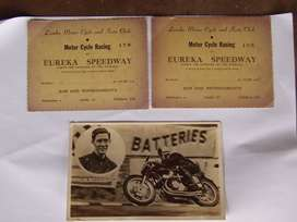 Vintage Post Card ( HR Armstrong)  and Eureka Speedway Tickets