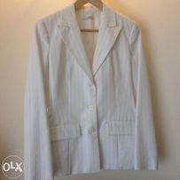Promod - garnitur damski biały w cienki prążek