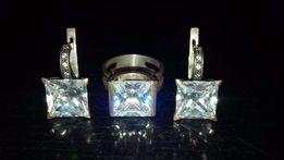 Продам набор из серебра с фианитом (серьги и кольцо).