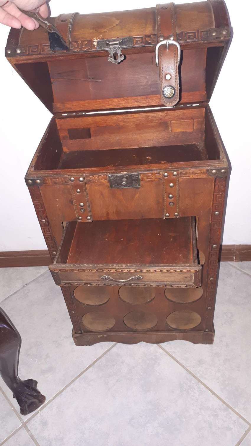 Antique bar cabinet and wine holder 0