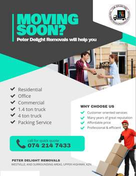 We move small and large loads for home and office Upper Highway KZN