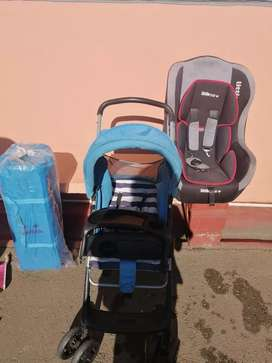 Stroller, Camp Cot (including mattress) and Car seat