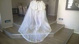 White organza train for wedding dress