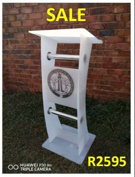 Very Beautiful White Curved Lectern