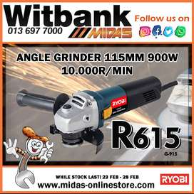 Angle Grinder 115MM 900W 10.000R/MIN ONLY R615 at Midas Witbank!